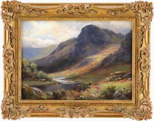 Cattle Lake District Antique Oil Painting by William Lakin Turner (1867-1936)
