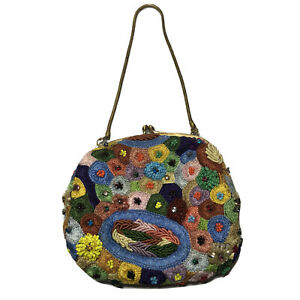 Santi Clutch Wallet Bag Embroidered Multicolor Sequin Beaded