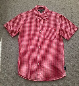Zoo York red white check gingham men's shirt size S great condition