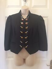 'NEXT' BLACK MILITARY STYLE LINEN / COTTON JACKET GOLD BUTTONS SIZE 14