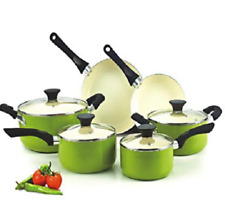Green Cookware Set Pots And Pans Non-Stick Ceramic Coating 10 pc Cooking Kitchen