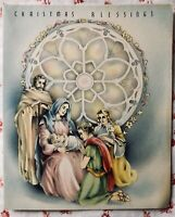Vintage 1930s Christmas Greeting Card Nativity Scene Round Stained Glass Window