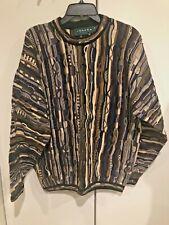 Vtg Tundra Canada Mens Coogi Cosby Retro Hip-Hop Textured Knit Sweater cardigan