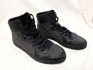 Mens   Gucci 224777 GG Logo High Top Sneakers Size 6 Black/Grey #553