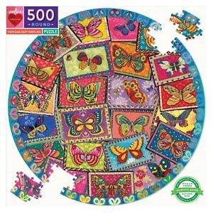 Vintage Butterflies 500 Piece Round Puzzle by eeBoo
