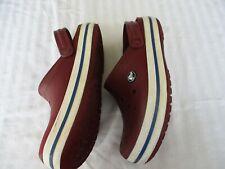 Crocs Crocband Burgundy With Blue Stripe Clog Slip-on Shoes Womens 6 Mens 4.