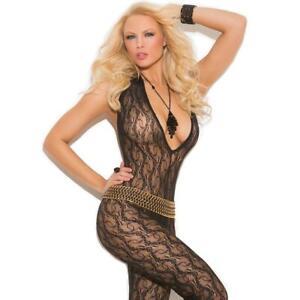 Lace Bodystocking Halter Plunging V Neckline Crotchless Sleeveless Black 1608