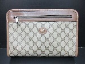 Authentic GUCCI Old Gucci Clutch Bag PVC Leather Brown 86308
