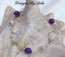 Bracelet with SriLanka MoonStone & Purple Agate Dragons Vein Gem Silver Plated