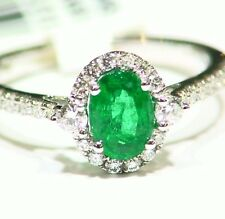 1.09CT 18K Gold Natural Emerald White Cut Diamond Vintage Deco Engagement Ring