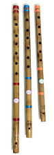 "Professional Set of 3 Indian Bamboo Fipple Flutes18""-21"" Bansuri-Genuine Quality"