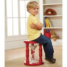 """Kids Time Out Hourglass Stool Or Chair 14"""" Tall With Sand Timer-Red Painted Wood"""