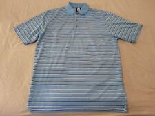 Mens Fj FootJoy Polo Shirt L Large Blue Stripes Golf Athletic