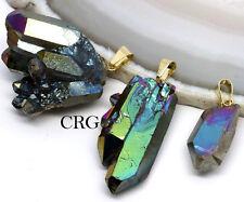 Rainbow Green Titanium Aura Quartz Crystal Cluster Pendant w/ Gold Bail (CL16CN)
