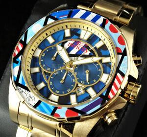 Invicta 48mm ROMERO BRITTO Ltd. Ed. 'Modern Art' Chronograph 18K Gold IP Watch