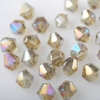 50pcs 6mm Bicone Faceted Crystal Glass Charms Loose Spacer Beads Light Brown AB
