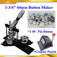 """1-3/4"""" Kit N4 button Maker+1,00 All Metal Pin Badge+Heavy Duty Punch Cutter Hot"""