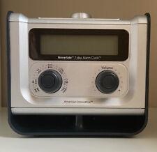 American Innovative Neverlate FM/AM Radio 7-Day Alarm Clock NL7DAC-PO Tested