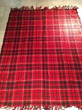 Vtg Pendleton Robe-In-Bag Wool Stadium Blanket Red Black Plaid Taratan
