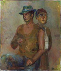 """Russischer Realist Expressionist Öl Leinwand """"Kartenspieler"""" 69x60 cm"""