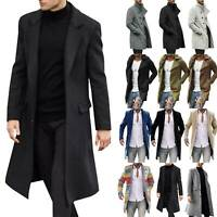 Mens Winter Trench Coat Overcoat Long Sleeve Casual Jacket Outwear Overcoat Tops