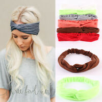 Fashion Women Knotted Hair Band Cotton Yoga Elastic Turban Twisted Headband Wrap