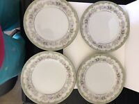 4 Vintage Bread Plates by Meito Kenwood Floral and Light Green Platinum Japan