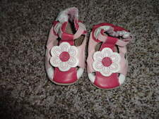 NEW ROBEEZ 0-6 PINK WHITE FLOWER SANDALS  LEATHER SHOES