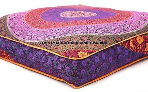 Indian Mandala Floor Pillow Square Ottoman Pouf Meditation Pillow Throw Pets Bed