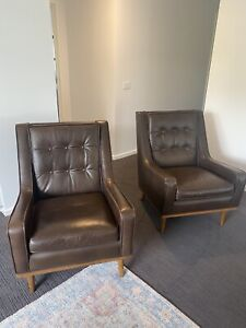 2x Dare Gallery ArmChair Occasional Leather timber Retro Scandi
