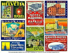 TRAVEL LUGGAGE STICKERS, 1 Sheet, 8 Hotel Label REPRODUCTIONS, Junk Journal Tags