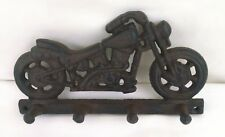 Cast Iron Motorcycle 4 Peg Wall Key Holder Rustic Wall Home Decor 8 x 4 Inches