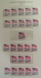 US Stamp #2323 plate number 1, 2, 4, 6, 7 coil strips MNH - #3 is used single