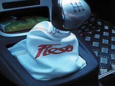 Cuffia cambio Fiesta 6 in pelle bianca e cuciture rosse