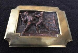 Antique Vintage Copper & Brass Figurative Signed C Schaub 1873 Plaque Escutcheon