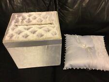 WEDDING GIFT CARD BOX Elegant Reception Envelope Holder Off White & Ring Pillow