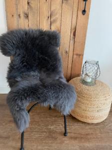 Follkee Sheep Skin Rug, Icelandic Merino, Dark Grey, Premium Quality,
