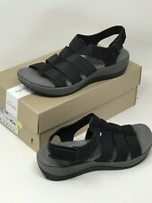 Clarks Women's Blake Moss Leather Fisherman Sandals Solid Black Size 9 W NEW