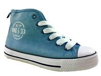 LADIES  LACE UP CANVAS HIGH TOP TRAINERS PLIMSOLES BLUE SIZE 2-6 NEW!