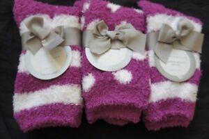 Charter Club Womens Socks Shoe Sz 6 - 10 Striped Dot Purple 3 Pairs Super Soft