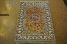 4x6 Silk Tabriz Hand-Knotted Popular Area Rugs Mustard - Cream Carpet