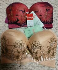 LOT OF 2 TRIUMPH WOMEN'S FULL COVERAGE BRAS RED/NUDE 36C NWT