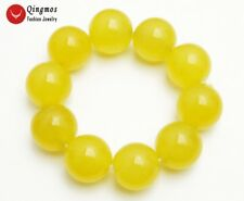 Round 20mm Natural Yellow Jade Bracelet for Women Jewelry Stone Bracelet 7.5''