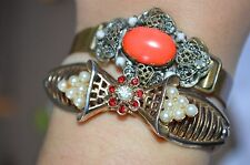 VINTAGE  CZECH Coral PEKING GLASS Filigree Clamper and Bow Faux pearls BRACELETS