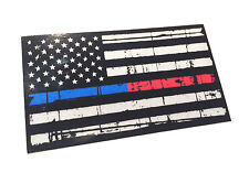 Reflective Tattered Thin Red - blue Line firefighter police Flag Decal Sticker