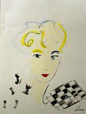 Lia de Fontenelle acrylique sur papier signée en bas à droite 40,5 x 29,5 cm