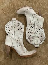 Loretti Off Ivory Perforated Leather Heeled Cowboy Boots Inspired - Size 38