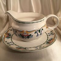 Mikasa Brindisi Gravy Sauce Boat Pitcher & Under Plate Country Classics DC033