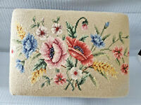 Vintage Antique Footstool Victoria Needlepoint  16'' L  by 12''W by 9.5'' T