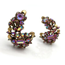 Vintage HOLLYCRAFT 1957 Pink Aurora Borealis Rhinestone Huge Climber Earrings